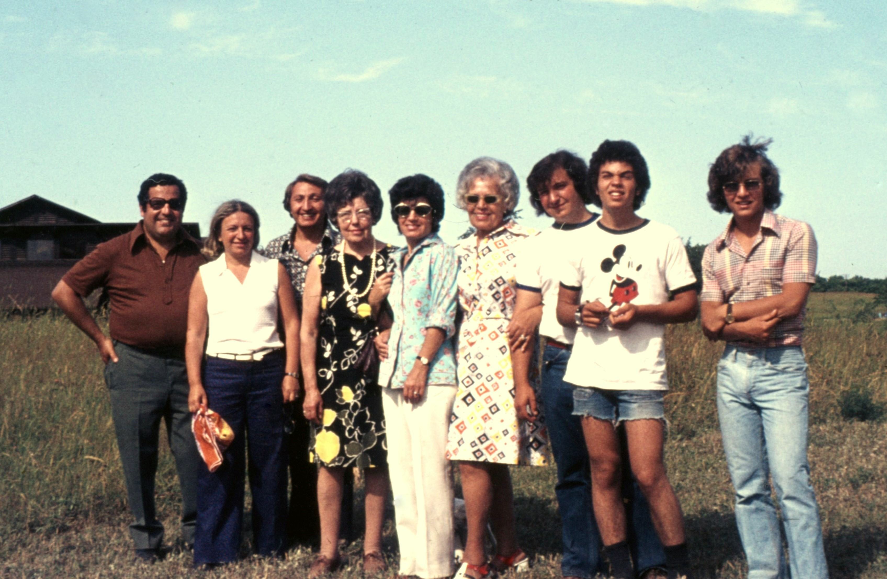 Cary Fagan's family visiting him at Camp Walden. Left to right: Uncle Nat; his mother Belle; his father Maurice; Aunt Fanny; Aunt Toby; Bubby Sylvia; brother Mark; Cary, age 16; and his brother Lawrence.