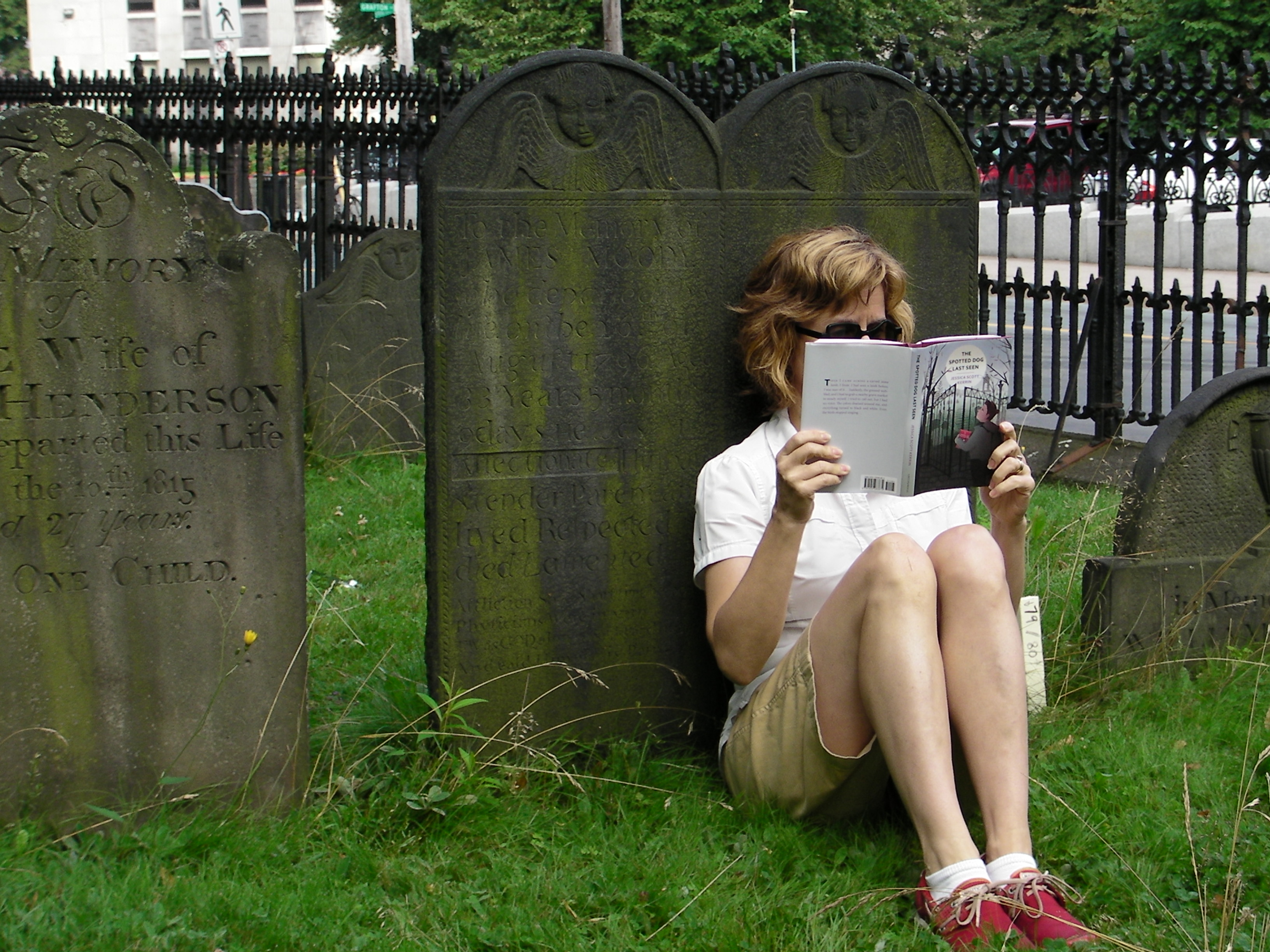 Jessica Scott Kerrin reads The Spotted Dog Last Seen beside the gravestone that inspired her to write it.