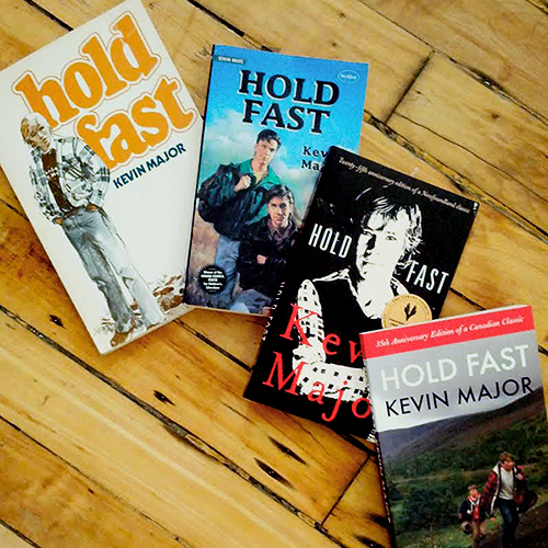 The evolution of the cover of Hold Fast. On the left is the 1978 Clarke Irwin edition; followed by the 1995 edition published by Stoddart Kids; then the 25th anniversary Groundwood update; and on the right, the 35th anniversary movie tie-in edition.