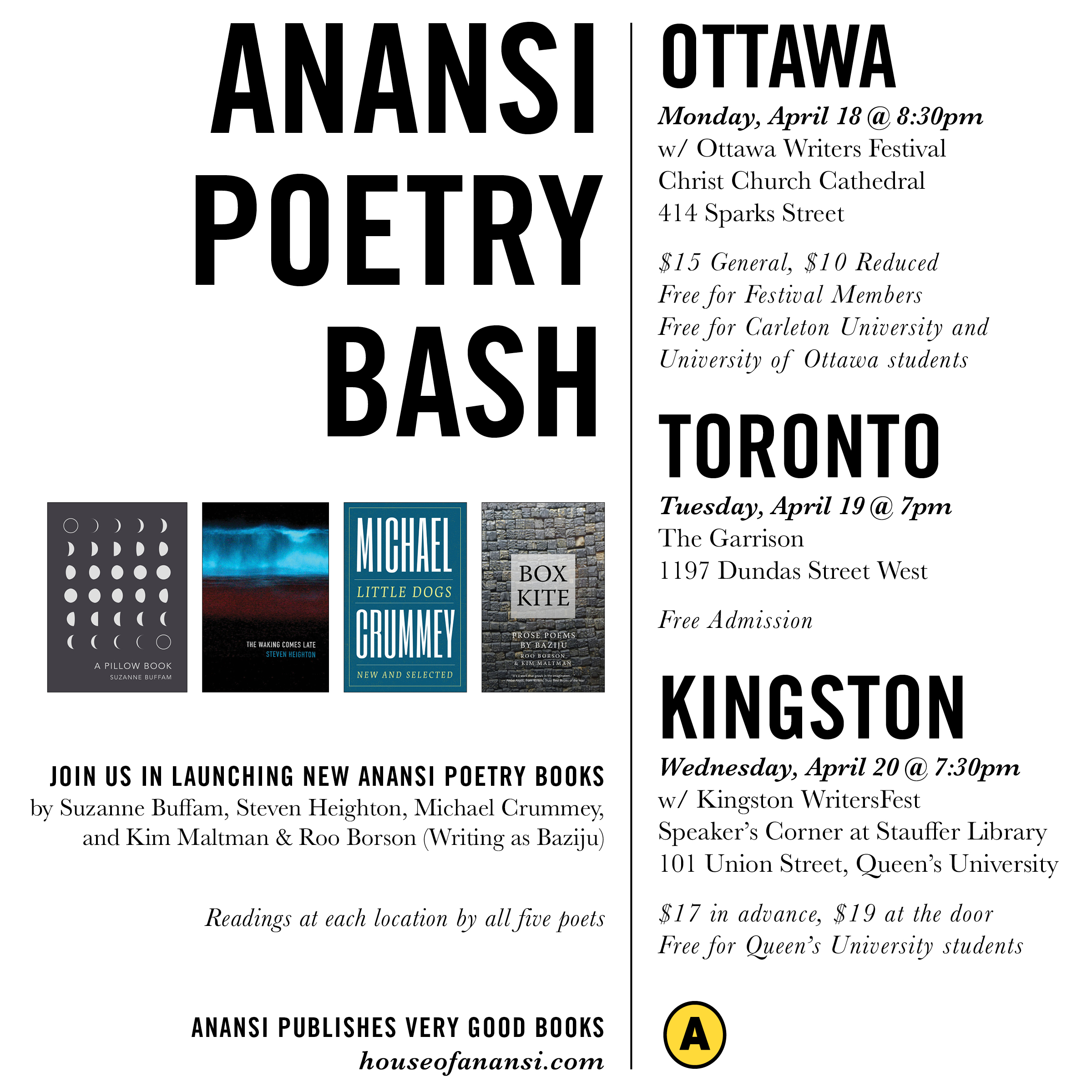 House of Anansi Poetry Bash