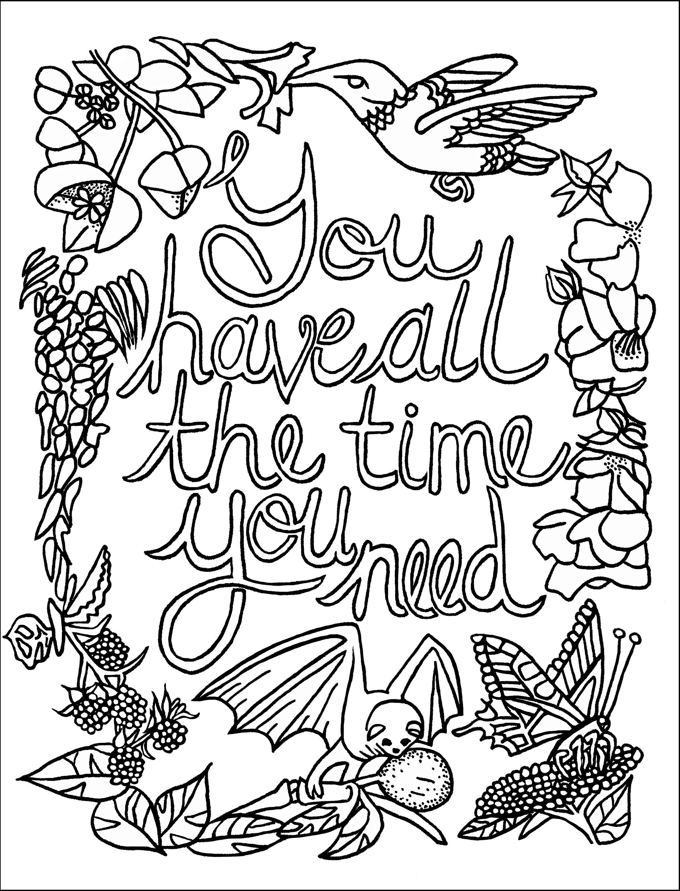 A Sample Colouring Page from The Joyful Living Colouring Book |